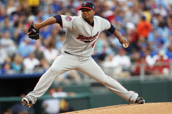 KANSAS CITY, MO - JULY 26:  Starting pitcher Francisco Liriano #47 of the Minnesota Twins pitches during the 1st inning of the game against the Kansas City Royals on July 26, 2010 at Kauffman Stadium in Kansas City, Missouri.  (Photo by Jamie Squire/Getty