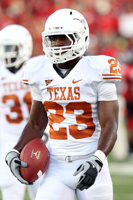 LUBBOCK, TX - SEPTEMBER 18:  Tre' Newton #23 of the Texas Longhorns at Jones AT&T Stadium on September 18, 2010 in Lubbock, Texas.  (Photo by Ronald Martinez/Getty Images)