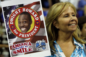 ORLANDO, FL - MAY 16:  A fan of the Orlando Magic holds up a sign which reads 'Dwight Howard for President... America needs a Smile' against the Boston Celtics in Game One of the Eastern Conference Finals during the 2010 NBA Playoffs at Amway Arena on May