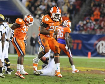 TAMPA, FL - NOVEMBER 28: Linebacker Brandon Maye #20 of the Clemson Tigers celebrates a sack against the Georgia Tech Yellow Jackets  in the 2009 ACC Football Championship Game December 5, 2009 at Raymond James Stadium in Tampa, Florida.  (Photo by Al Mes