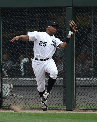 CHICAGO - AUGUST 29: Andruw Jones #25 of the Chicago White Sox catches a fly ball at the warning track against the New York Yankees at U.S. Cellular Field on August 29, 2010 in Chicago, Illinois. The Yankees defeated the White Sox 2-1. (Photo by Jonathan