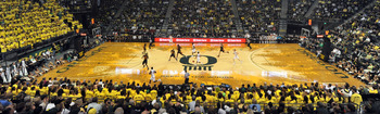 EUGENE, OR - JANUARY 13: General view of the action in the first half of the first game between the USC Trojans and the Oregon Ducks basketball teams at Matthew Knight Arena on January 13, 2011 in Eugene, Oregon. The arena is named for Matthew Knight, the