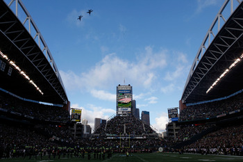 SEATTLE, WA - JANUARY 08:  A flyover before the 2011 NFC wild-card playoff game between the New Orleans Saints and the Seattle Seahawks at Qwest Field on January 8, 2011 in Seattle, Washington.  (Photo by Jonathan Ferrey/Getty Images)