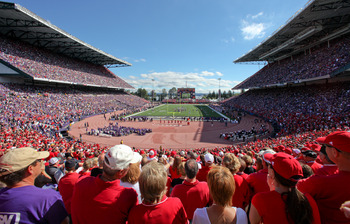 SEATTLE - SEPTEMBER 18: Fans of the Nebraska Cornhuskers watch the game against the Washington Huskies on September 18, 2010 at Husky Stadium in Seattle, Washington. The Cornhuskers defeated the Huskies 56-21.(Photo by Otto Greule Jr/Getty Images)