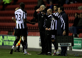 WIGAN, ENGLAND - JANUARY 02:  Shola Ameobi of Newcastle United is substituted for team mate Leon Best during the Barclays Premier League match between Wigan Athletic and Newcastle United at the DW Stadium on January 2, 2011 in Wigan, England.  (Photo by C