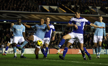 BIRMINGHAM, ENGLAND - FEBRUARY 02:  Nikola Zigic  of Birmingham scores thier first goal during the Barclays premier league match between Birmingham City and Manchester City at St Andrews on February 2, 2011 in Birmingham, England.  (Photo by Richard Heath