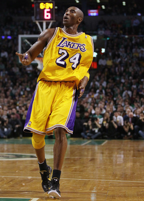 BOSTON, MA - FEBRUARY 10:  Kobe Bryant #24 of the Los Angeles Lakers reacts after he made a shot in the fourth quarter against the Boston Celtics on February 10, 2011 at the TD Garden in Boston, Massachusetts.  The Lakers defeated the Celtics 92-86. NOTE