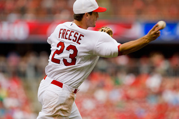 ST. LOUIS - MAY 31: David Freese #23 of the St. Louis Cardinals throws the ball during action against the Cincinnati Reds at Busch Stadium on May 31, 2010 in St. Louis, Missouri.  (Photo by Dilip Vishwanat/Getty Images)