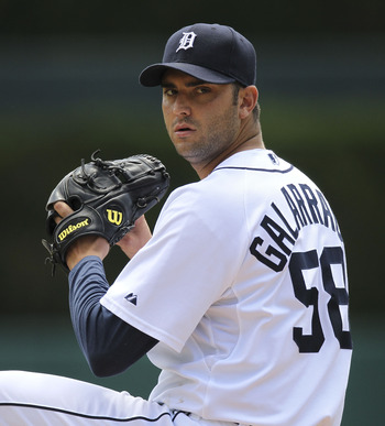 DETROIT - JULY 25: Armando Galarraga #58 of the Detroit Tigers warms up prior to the start of the first inning against the  Toronto Blue Jays on July 25, 2010 at Comerica Park in Detroit, Michigan. The Blue Jays defeated the Tigers 5-3.  (Photo by Leon Ha