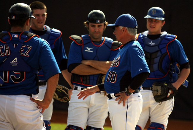 PORT ST. LUCIE, FL - FEBRUARY 17:  Manager terry Collins #10 of the New York Mets addresses his team during spring training at Tradition Field on February 17, 2011 in Port St. Lucie, Florida.  (Photo by Marc Serota/Getty Images)