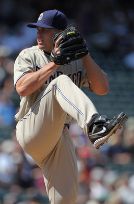 DENVER - SEPTEMBER 15:  Starting pitcher Clayton Richard #33 of the San Diego Padres delivers against the Colorado Rockies at Coors Field on September 15, 2010 in Denver, Colorado. Richard collected the loss as the Rockies defeated the Padres 9-6.  (Photo