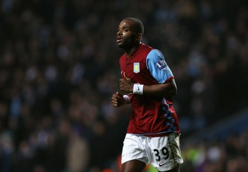 BIRMINGHAM, ENGLAND - JANUARY 22:  Darren Bent of Aston Villa in action on his debut during the Barclays Premier League match between Aston Villa and Manchester City at Villa Park on January 22, 2011 in Birmingham, England.  (Photo by Ian Walton/Getty Ima
