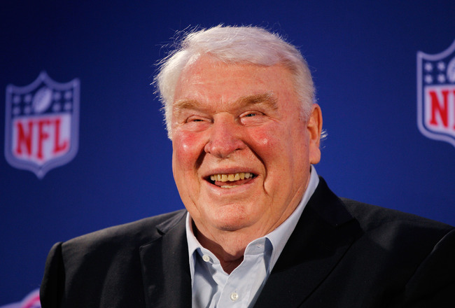 DALLAS, TX - FEBRUARY 03:  John Madden speaks during a press conference where he awarded the New England Patriots offensive linemen with the Madden Most Valuable Protectors Award for being this year's best offensive line, as determined by John Madden and