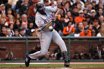 SAN FRANCISCO - OCTOBER 27:  Vladimir Guerrero #27 of the Texas Rangers hits an RBI single in the first inning against Tim Lincecum #55 of the San Francisco Giants in Game One of the 2010 MLB World Series at AT&T Park on October 27, 2010 in San Francisco,
