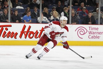 COLUMBUS, OH - JANUARY 11: Paul Bissonnette #12 of the Phoenix Coyotes skates against the Columbus Blue Jackets during a game on January 11, 2011 at the Nationwide Arena in Columbus, Ohio. (Photo by Gregory Shamus/Getty Images)