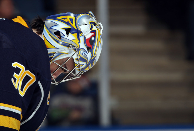 UNIONDALE, NY - JANUARY 23: Ryan Miller #30 of the Buffalo Sabres pauses during his game against the New York Islanders at the Nassau Coliseum on January 23, 2011 in Uniondale, New York.  (Photo by Bruce Bennett/Getty Images)