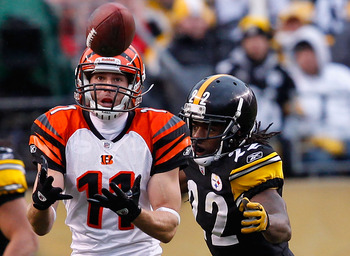 PITTSBURGH - DECEMBER 12: Jordan Shipley #11 of the Cincinnati Bengals catches a pass in front of William Gay #22 of the Pittsburgh Steelers during the game on December 12, 2010 at Heinz Field in Pittsburgh, Pennsylvania.  (Photo by Jared Wickerham/Getty