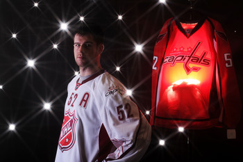 RALEIGH, NC - JANUARY 30:  (EDITORS NOTE: A special effects camera filter was used for this image.) Mike Green #52 of Washington Capitals for Team Staal poses for a portrait before the 58th NHL All-Star Game at RBC Center on January 30, 2011 in Raleigh, N
