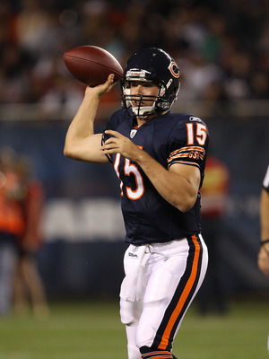 CHICAGO - AUGUST 28: Dan LeFevour #15 of the Chicago Bears throws a pass against the Arizona Cardinals during a preseason game at Soldier Field on August 28, 2010 in Chicago, Illinois. The Cardinals defeated the Bears 14-9. (Photo by Jonathan Daniel/Getty