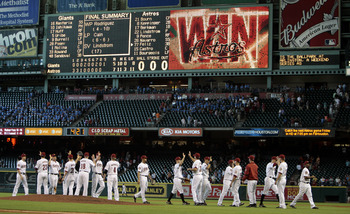 HOUSTON - JUNE 24:  The Houston Astros celebrate their win over the San Francisco Giants at Minute Maid Park on June 24, 2010 in Houston, Texas.  (Photo by Bob Levey/Getty Images)