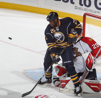 BUFFALO, NY - DECEMBER 23: Mike Grier #25 of the Buffalo Sabres tries to make a play against Tomas Vokoun #29 of the Florida Panthers at HSBC Arena on December 23, 2010 in Buffalo, New York. Florida won 4-3.  (Photo by Rick Stewart/Getty Images)