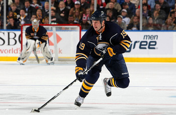 BUFFALO - OCTOBER 22:  Tim Connolly #19 of the Buffalo Sabres carries the puck against the Ottawa Senators during their NHL game at HSBC Arena October 22, 2010 in Buffalo, New York.(Photo By Dave Sandford/Getty Images)