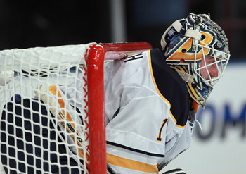 NEW YORK - NOVEMBER 11: Jhonas Enroth #1 of the Buffalo Sabres tends net against the New York Rangers at Madison Square Garden on November 11, 2010 in New York City. The Rangers defeated the Sabres 3-2 in overtime.  (Photo by Bruce Bennett/Getty Images)