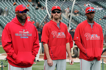 SAN FRANCISCO - OCTOBER 21:  Ryan Howard #6, Jayson Werth #28, and Domonic Brown #9 of the Philadelphia Phillies stand on the field prior to playing the San Francisco Giants in Game Five of the NLCS during the 2010 MLB Playoffs at AT&T Park on October 21,