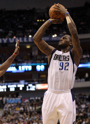 DALLAS, TX - JANUARY 04:  Guard DeShawn Stevenson #92 of the Dallas Mavericks takes a shot against the Portland Trail Blazers at American Airlines Center on January 4, 2011 in Dallas, Texas.  NOTE TO USER: User expressly acknowledges and agrees that, by d