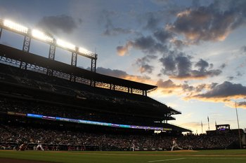 DENVER - MAY 10:  The sunsets over the stadium as the Colorado Rockies face the Philadelphia Phillies at Coors Field on May 10, 2010 in Denver, Colorado. The Phillies defeated the Rockies 9-5.  (Photo by Doug Pensinger/Getty Images)