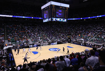 SALT LAKE CITY - MARCH 25:  General view of action between the Xavier Musketeers and the Kansas State Wildcats during the west regional semifinal of the 2010 NCAA men's basketball tournament at the Energy Solutions Arena on March 25, 2010 in Salt Lake Cit