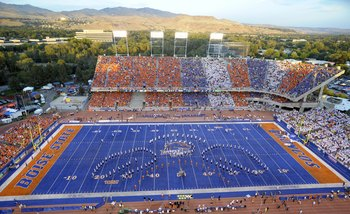BOISE, ID - SEPTEMBER 3:  Boise State fans fill the colorful seating sections in Bronco Stadium before the game between the Oregon Ducks and the Boise State Broncos on September 3, 2009 in Boise, Idaho. (Photo by Steve Dykes/Getty Images)