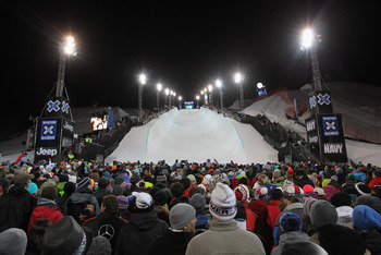 ASPEN, CO - JANUARY 30:  Fans fill the venue as Shaun White of Carlsbad, California made history with his four-peat gold medal in the Men's Snowboard Superpipe at Winter X Games 15 at Buttermilk Mountain on January 30, 2011 in Aspen, Colorado. Fans also s