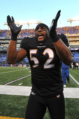 BALTIMORE, MD - DECEMBER 19:  Ray Lewis #52 of the Baltimore Ravens celebrates the Ravens victory after the game against the New Orleans Saints  at M&T Bank Stadium on December 19, 2010 in Baltimore, Maryland. The Ravens defeated the Saints 30-24. (Photo
