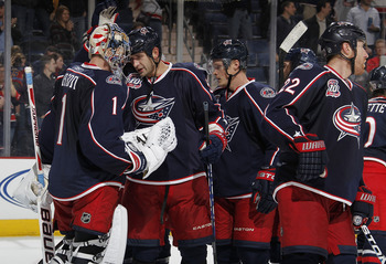 COLUMBUS, OH - NOVEMBER 22:  Steve Mason #1 of the Columbus Blue Jackets celebrates a 2-0 victory over the Nashville Predators on November 22, 2010 in Columbus, Ohio.  (Photo by Gregory Shamus/Getty Images)