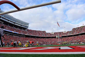 COLUMBUS, OH - NOVEMBER 27:  The Michigan Wolverines and The Ohio State Buckeyes face each other in the 107th meeting between the two schools at Ohio Stadium on November 27, 2010 in Columbus, Ohio.  (Photo by Jamie Sabau/Getty Images)