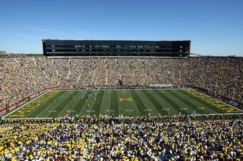 ANN ARBOR, MI - SEPTEMBER 19: General view of Michigan Stadium during the game between the Michigan Wolverines and the Eastern Michigan Eagles on September 19, 2009 in Ann Arbor, Michigan.  Michigan won 45-17.  (Photo by Stephen Dunn/Getty Images)