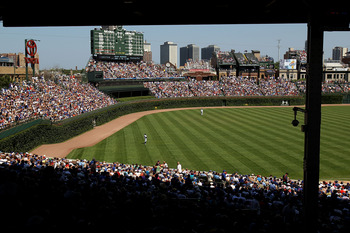 CHICAGO - JULY 16: A general view of Wrigley Field as the Chicago Cubs take on the Philadelphia Phillies on July 16, 2010 in Chicago, Illinois. The Cubs defeated the Phillies 4-3. (Photo by Jonathan Daniel/Getty Images)