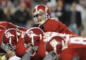 TUSCALOOSA, AL - NOVEMBER 13: Quarterback A. J. McCarron #10 of the Alabama Crimson Tide sets for play against the Mississippi State Bulldogs November 13, 2010 at Bryant-Denny Stadium in Tuscaloosa, Alabama.  (Photo by Al Messerschmidt/Getty Images)