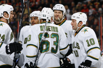 OTTAWA - NOVEMBER 24:  Brandon Segal #24, Trevor Daley #6, Mike Ribeiro #63, Jeff Woywitka #44 and Brenden Morrow #10 of the Dallas Stars celebrate their game-winning goal over the Ottawa Senators in a game at Scotiabank Place on November 24, 2010 in Otta
