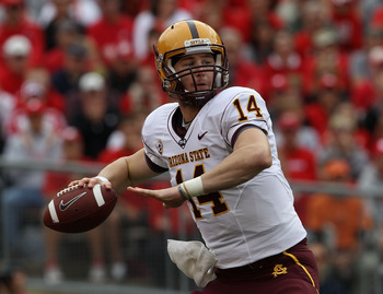 MADISON, WI - SEPTEMBER 18: Steven Threet #14 of the Arizona State Sun Devils pass the ball against the Wisconsin Badgers at Camp Randall Stadium on September 18, 2010 in Madison, Wisconsin. Wisconsin defeated Arizona State 20-19. (Photo by Jonathan Danie