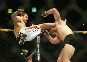 MANCHESTER, UNITED KINGDOM - APRIL 21: Gabriel Gonzaga of USA knocks out Mirko Cro Cop of Croatia during a Heavyweight bout of the Ultimate Fighting Championship at the Manchester Evening News Arena on April 21, 2007 in Manchester, England.  (Photo by Gar