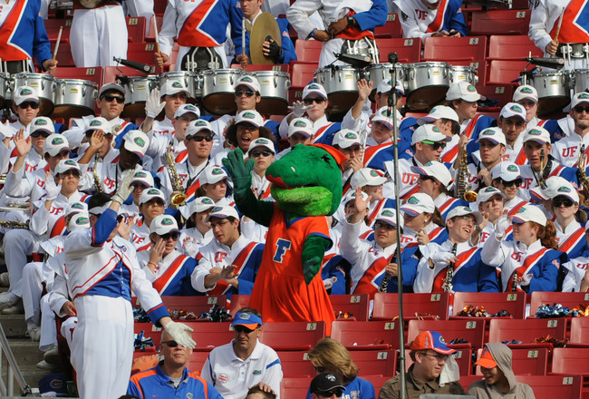 TAMPA, FL - JANUARY 1:  The mascot of the Florida Gators directs the play of the band against the Penn State Nittany Lions January 1, 2010 in the 25th Outback Bowl at Raymond James Stadium in Tampa, Florida.  (Photo by Al Messerschmidt/Getty Images)