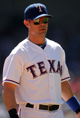 ARLINGTON, TX - SEPTEMBER 29:  Michael Young #10 of the Texas Rangers at Rangers Ballpark in Arlington on September 29, 2010 in Arlington, Texas.  (Photo by Ronald Martinez/Getty Images)