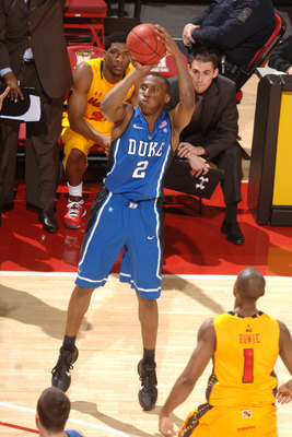 COLLEGE PARK, MD - FEBRUARY 2: Nolan Smith #2 of the Duke Blue Devils takes a jump shot during a college basketball game against the Maryland Terrapins on February 2, 2011 at Comcast Arena in College Park, Maryland. (Photo by Mitchell Layton/Getty Images)