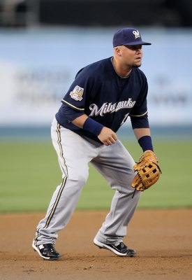 LOS ANGELES, CA - MAY 06:  Casey McGehee #14 of the Milwaukee Brewers plays against the Los Angeles Dodgers at Dodger Stadium on May 6, 2010 in Los Angeles, California.  (Photo by Jeff Gross/Getty Images)