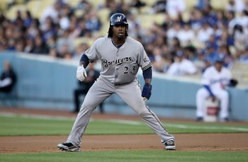 LOS ANGELES, CA - MAY 04:  Rickie Weeks #23 of the Milwaukee Brewers leads off of first base against the Los Angeles Dodgers at Dodger Stadium on May 4, 2010 in Los Angeles, California. The Brewers defeated the Dodgers 11-6.  (Photo by Jeff Gross/Getty Im