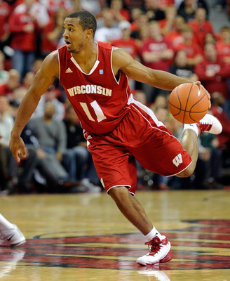 LAS VEGAS - NOVEMBER 20:  Jordan Taylor #11 of the Wisconsin Badgers brings the ball up the court against the UNLV Rebels during their game at the Thomas &amp; Mack Center November 20, 2010 in Las Vegas, Nevada. UNLV won 68-65.  (Photo by Ethan Miller/Getty I