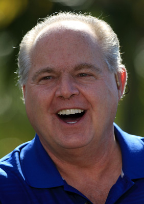 PALM BEACH GARDENS, FL - MARCH 15: Rush Limbaugh during the Els for Autism Pro-Am on the Champions Course at the PGA National Golf Club on March 15, 2010 in Palm Beach Gardens, Florida.  (Photo by David Cannon/Getty Images)