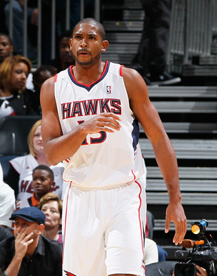 ATLANTA - OCTOBER 21:  Al Horford #15 of the Atlanta Hawks against the Miami Heat at Philips Arena on October 21, 2010 in Atlanta, Georgia.  (Photo by Kevin C. Cox/Getty Images)